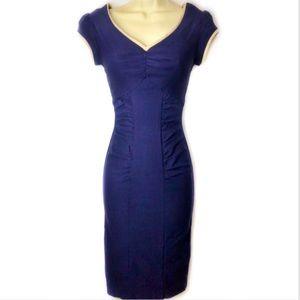 Stop Staring! Navy Shirred Pinup Pencil Dress XXS